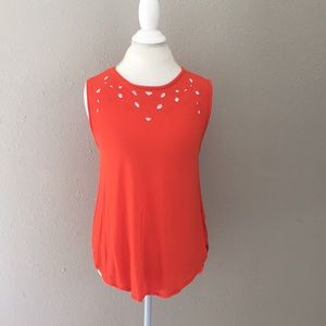 Old navy coral laser cut tank top size M